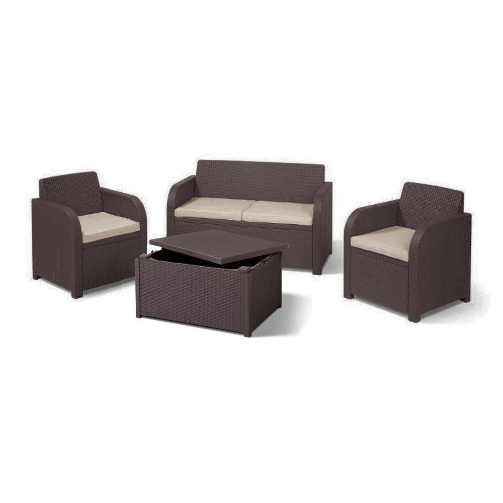 4 Seater Rattan Rattan Lounge Storage Table Garden Furniture Set