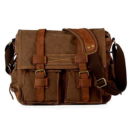 WindFeel Messenger Bag Vintage Shoulder Sling Bag Travel Casual Laptop School College Backpack Rucksack Bag for Women/Men, Coffee