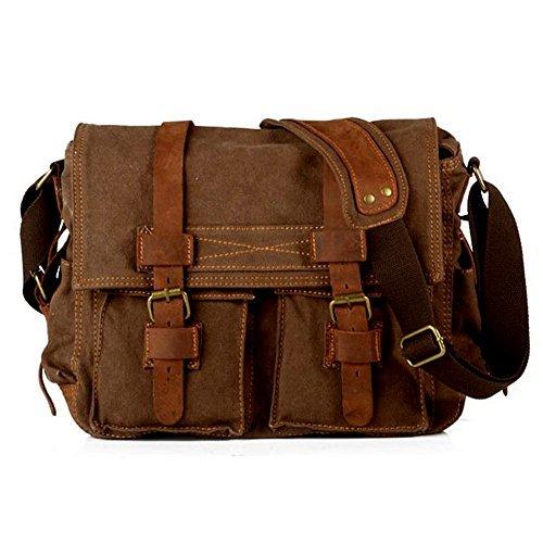 WindFeel Messenger Bag Vintage Shoulder Sling Bag Travel Casual Laptop School College Backpack Rucksack Bag for Women/Men, Coffee Review