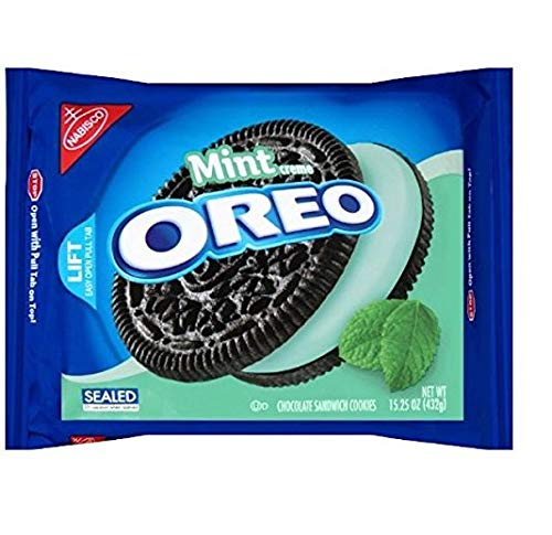 Oreo Chocolate Sandwich Cookies, Mint Creme Flavor, 15.25 oz (2 Pack)]()