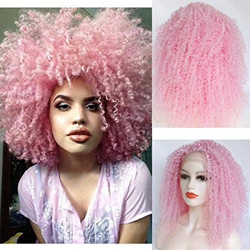 Party Queen Short Bob Lace Front Wigs with Baby Hair Color Pink Wigs Glueless Kinky Curly Synthetic Hair Wigs For Black Women Heat Resistant Fibers Lace Wigs with Free Part Pre Plucked Hairline