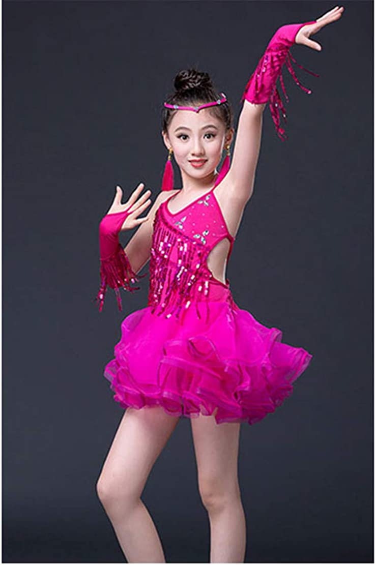 Danza Abbigliamento Vestito da Ballo Latino Salsa Tango Costume Tutu Bambini Lustrino Nappa Ragazze Prestazione Competizione Dancewear