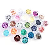 Frcolor Nail Glitter Powder, Shiny Glitter Sequins Paillettes Powder for Makeup Body(24 Colors)