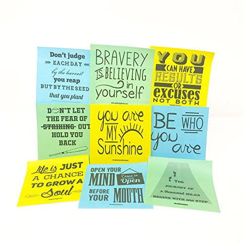 Sticky Notes Inspirational Quotes - Perfect for Lunch Box Notes, Mommy & Teacher Approved - 3 Pads 50 Sheets/Pad 50 Unique Quotes & Designs - Blue Yellow & Green