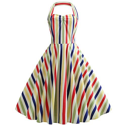 (JESPER Women Vintage Polka Halter Dress Floral Audrey Hepburn Retro Rockabilly Cocktail Dress Yellow)