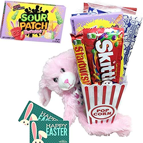 Happy Easter Movie Night Gift Basket ~ Includes Movie Popcorn, Candy, Stuffed Hanging Bunny and 2 Free Redbox Movie Rentals (Sour Patch Bunnies)