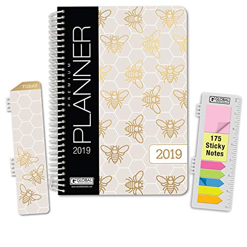 HARDCOVER Calendar Year 2019 Planner: (November 2018 Through December 2019) 5.5x8 Daily Weekly Monthly Planner Yearly Agenda. Bonus Bookmark, Pocket Folder and Sticky Note Set (Bees)