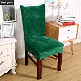 TANGOGO Spandex Elastic Velvet Thick Solid Color Dining Chair Cover Hotel Anti-Dirty Removable Party Office Stretch Seat Protective Case