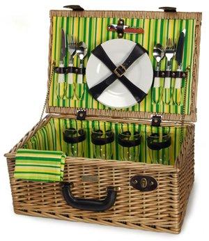 Picnic Beyond Wicker Picnic Basket for 4 26pcs Wine Glass...