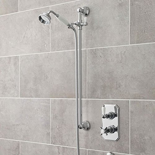 Hudson Reed Concealed Thermostatic Twin Shower Valve Faucet with Traditional Slide Rail Kit and Handset In A Polished Chrome Finish Traditional Shower Valves