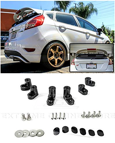 Extreme Online Store for 2014-Present Ford Fiesta ST Hatchback Models | EOS Add-On Rear Wing Spoiler Riser Extendsion (Anodized Black)