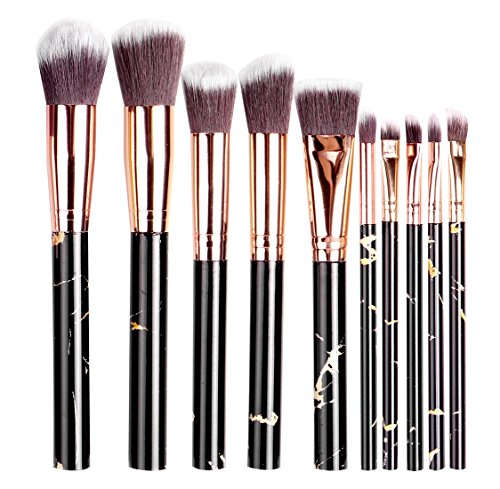 Kabuki Makeup Brushes Set Premium Synthetic Foundation Contour Face Powder Blush Eyeshadow Brushes,Highlighter Makeup Brush Set, Professional Cosmetic Makeup Brush Kit 10PCS Marble Makeup Brush,Black