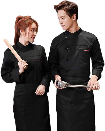 WYCDA Camisa de Cocinero Cocina Uniforme Manga Larga Impermeable Disfraz de Chef Absorción de Humedad Protección del Medio Ambiente Sin Desvanecimiento,Blacklongsleeves,L: Amazon.es: Hogar