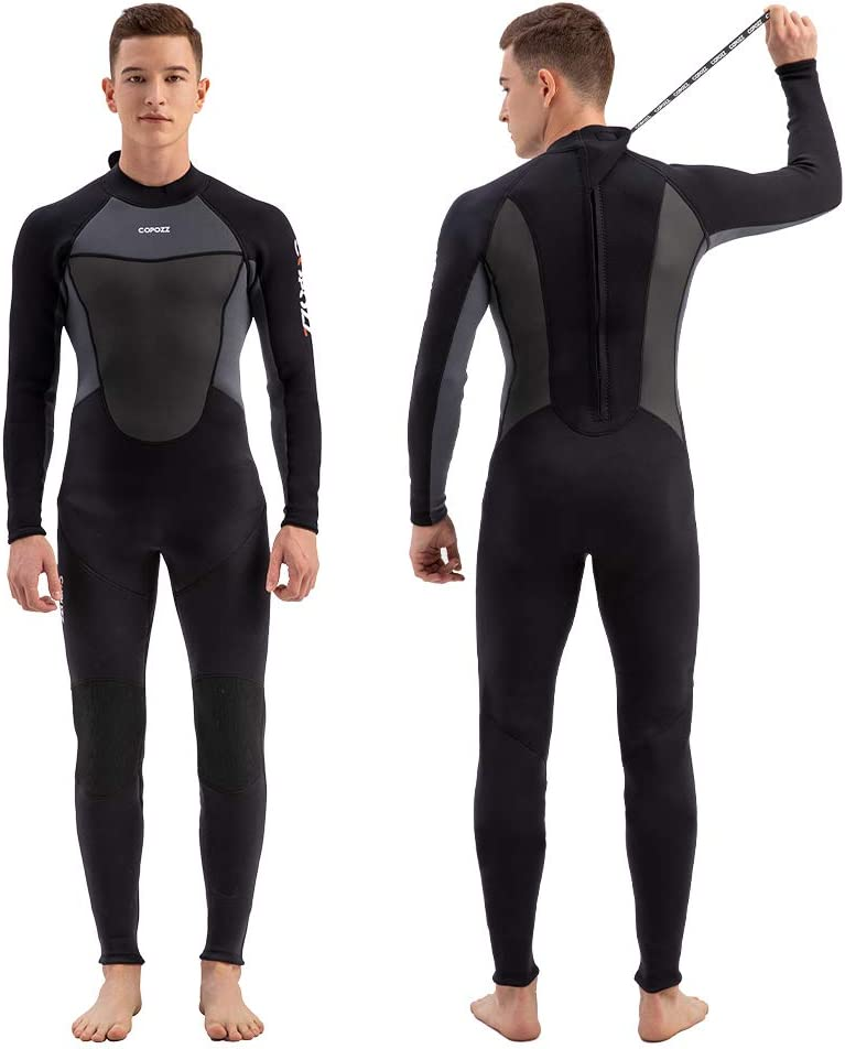 COPOZZ Wetsuit for Men and Women 3mm Neoprene Full Wetsuit, Back Zip Long Sleeve One Piece Wetsuit Jumpsuit for Scuba Diving Surfing Snorkeling