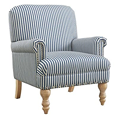 Dorel Living Jaya Accent Chair, Blue - Traditional design Accent Chair with Country chic flair Upholstered in a Blue and white Striped linen-look fabric Also available in beige and white Striped linen-look fabric - living-room-furniture, living-room, accent-chairs - 51l3VMNlgxL. SS400  -