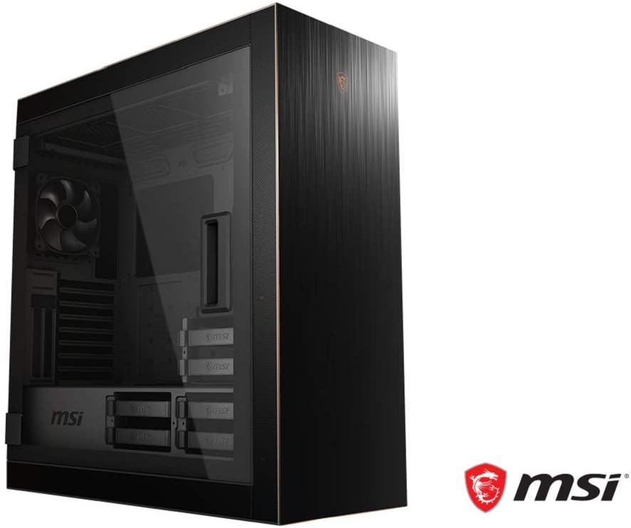MSI MPG SEKIRA 500G Full Tower Gaming Computer Case 'Black with Gold Trim, 2X 200mm Plus 1x120mm Fans, USB Type-C, Tempered Glass Panel, E-ATX, ATX, mATX, Mini-ITX'