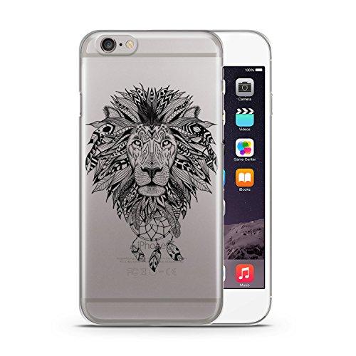 Aztek Löwe Schwarz Design Apple iPhone 6 & 6S SLIM HARDCASE Durchsichtig Hülle Cover Case Schutz Schale Design Tribal Aztec Lion