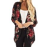GIFC Fashion Women Chiffon Floral Kimono Loose Three Quarter Sleeve Shawl Print Cardigan Blouses Tops T-Shirts