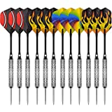 CyeeLife Steel tip Darts 20/22g+30Flights+12Aluminum shafts with Rubber Rings+12 Barrels for 4 Beginners House Darts Sliver/Golden