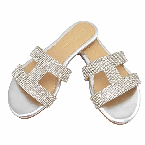 OVJ Women Casual Flat Sandals Round Toe Sparkling Rhinestones Slip On Sandal with Cutout Details (7.5, Silver)