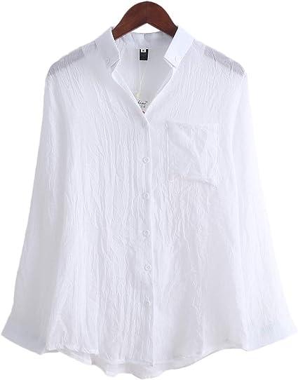 jackyee Camisa de Lino de Manga Larga Blanco XL Chemisier ...