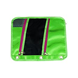 Pencil Pouches with 3 Pockets Zippered 2-Sided Pencil Case Micro Mesh Window Fits 3-Ring Binder Assorted Color (5-Pack)
