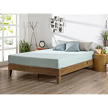 zinus 12 inch deluxe wood platform bed no boxspring needed wood slat support rustic pine finish twin