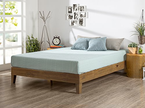 Zinus 12 Inch Deluxe Solid Wood Platform Bed / No Boxspring needed / Wood Slat Support / Rustic Pine Finish, Queen