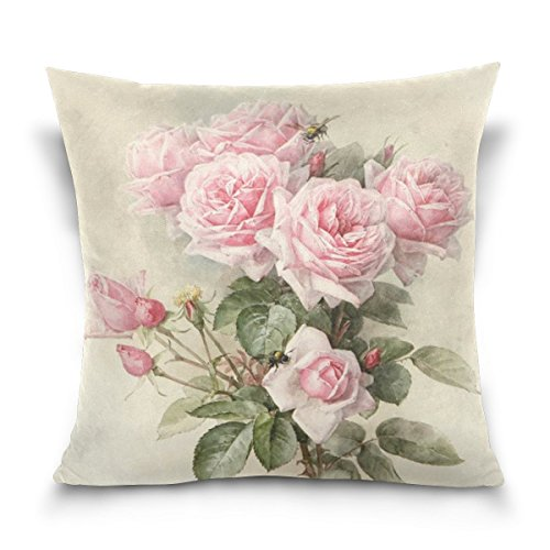 16x16 Inches Cotton Linen Vintage Shabby Chic Pink Rose Floral For Sofa Bedroom Living Room Square Valentine's Day Gift Mother's Day Gift (Shabby Chic Pillows Sofa)