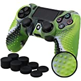 Pandaren STUDDED Anti-slip Silicone Cover Skin Set for PlaySation 4 controller(CamouGreen controller skin x 1 + FPS PRO Thumb Grips x 8)