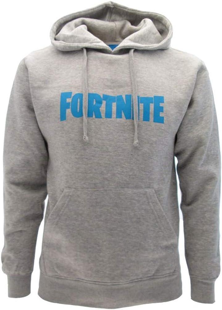 Sudadera Fortnite original gris con logotipo azul con capucha para adulto y niño, producto oficial