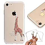 Crystal Clear Case for iPhone 8 Plus,Silicone Bumper Case for iPhone 7 Plus,Leeook Cute Creative Funny Giraffe Painted Design Transparent Soft Gel Slim Fit Thin Flexible Scratch-resistant Tpu Bumper Skin Cover for iPhone 8 Plus/7 Plus 5.5' + 1 x Free Black Stylus-Giraff