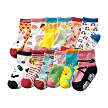 Baby Toddler Kids Non-Skid Ankle Socks Boys Girls Toddler Walkers Knit Socks