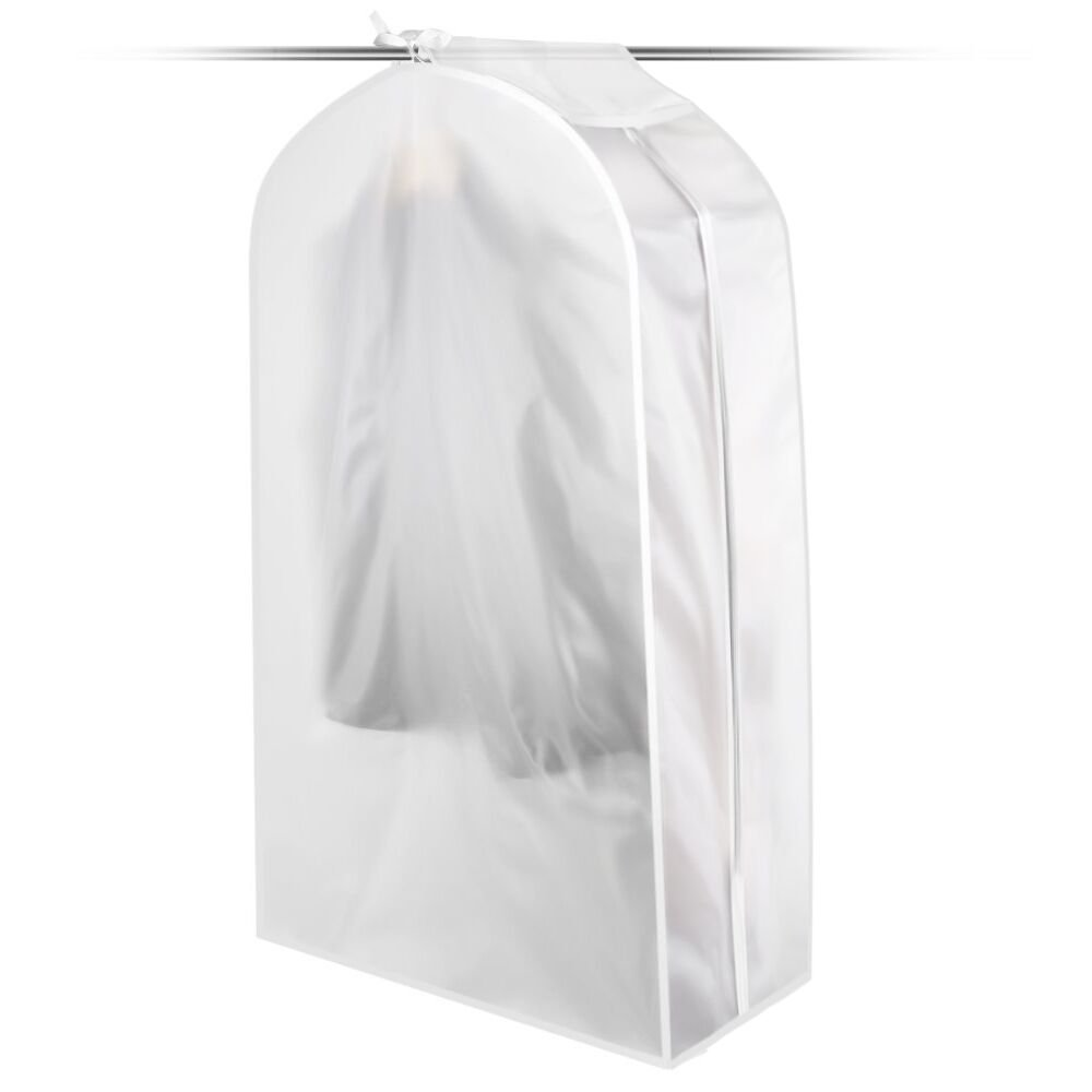 KONKY Garment Clothes Cover Protector, Hanging Garment Bag for Closet Translucent Dustproof Waterproof Hanging Clothing Storage Bag with Full Zipper & Magic Tape & Strap for Coat Dress Windcoat-Mideum