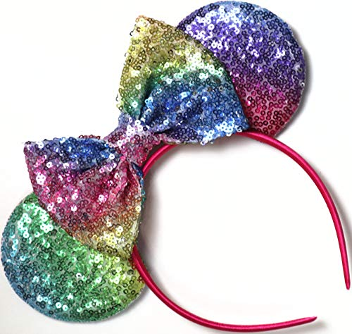 CLGIFT Ombre Pastel Rainbow Mickey Ears, Rainbow Minnie Mouse Ears, Pastel Sparkly Minnie Ears, Happy Pride, Handmade,One Size Fits -