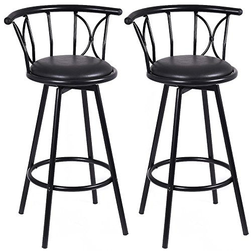 Set of 2 Black Barstools Modern Swivel Rotatable Chairs Steel Counter Height New by Unknown