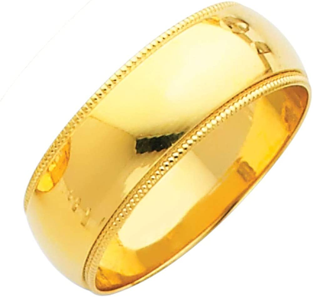 Sonia Jewels 14k White or Yellow Gold Mens 7mm Solid Migraine Domed Traditional Comfort Fit Plain Wedding Ring Band