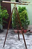 Big Long View Antique Brass Double Barrel Nautical Telescope On Rosewood Tripod Stand 62'' Maritime Telescope For Office Decoration