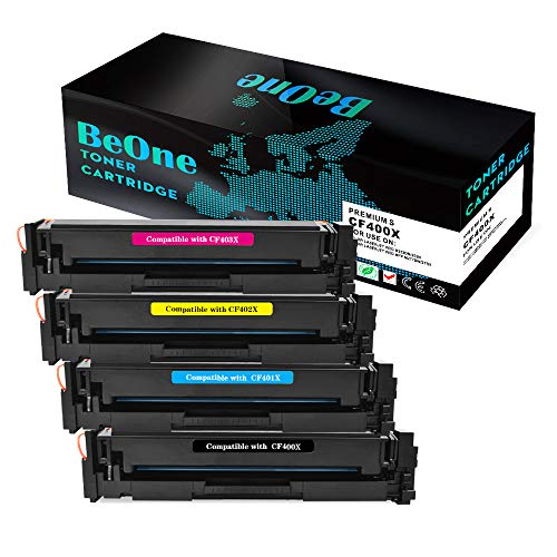 BeOne Compatible Toner Cartridge Replacement for HP 201X CF400X CF401X CF402X CF403X (4-Pack) Color Laserjet Pro MFP M277dw M277n M277c6 Pro M252dw M252n Series Printer (Hp Color Laserjet Pro Mfp M277dw Toner Price)