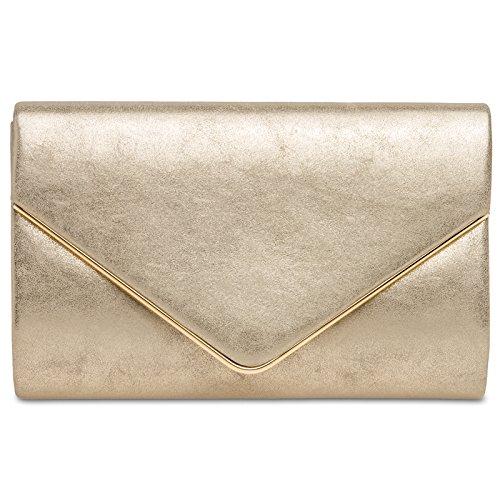 Gold Women TA349 Evening CASPAR Clutch XZ1wIx