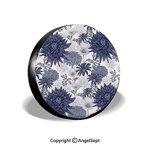 Tire Cover,Dotted Digital Paint of Dahlias Botanical Curved Rolled Wild Ray Blunts,Blue White,for Jeep Trailer SUV RV and Many Vehicles,17 Inch