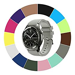 Midenso Bands For Gear S3 Frontierclassicmoto 360 2nd Gen 46mm Watch Silicone Bracelet, Sports Silicone Band Strap Replacement Wristband For Samsung Gear S3 Frontiers3 Classic (Grey)