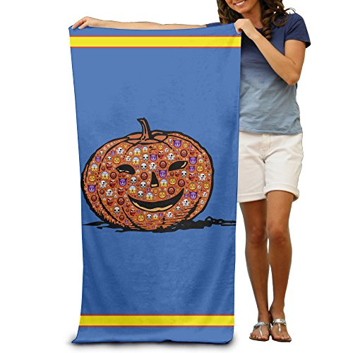 Colorful Emoji Halloween Pumpkin Adults Cotton Beach Towel 31 X (Halloween En El Peru)