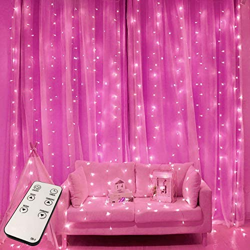 JMEXSUSS Remote Control 300 LED Pink Christmas Curtain Lights 8 Modes Valentines Lights,Window Curtain Christmas String Light for Wedding Party Garden Bedroom Indoor Outdoor Decorations (Pink)
