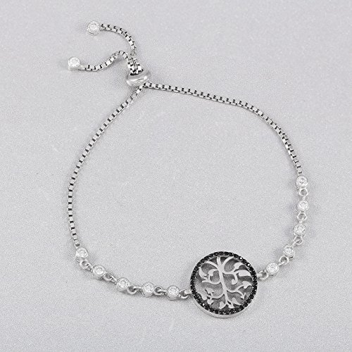 925 Solid Sterling Silver Bracelet with Black Onyx Stone Tree of Life Concept Onyx Tree
