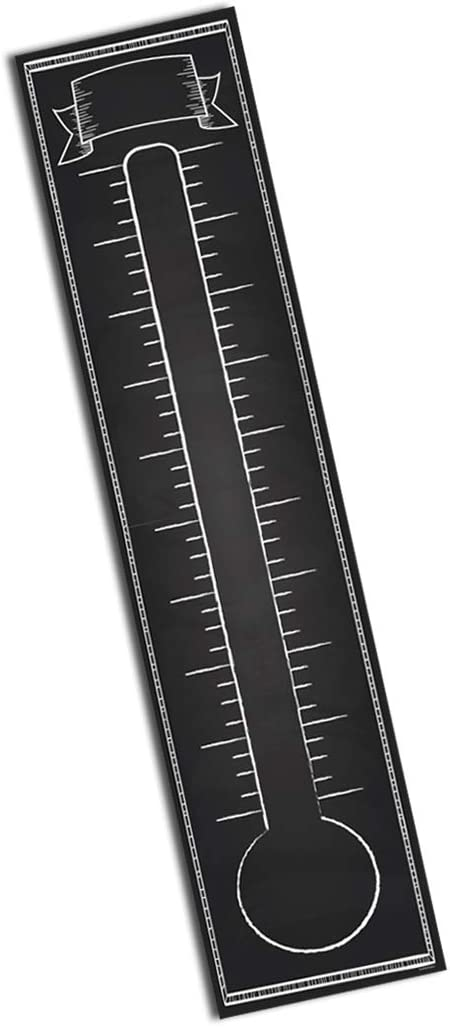 Goal Setting Fundraising Donation Thermometer - 11x48 - Dry Erase Chalkboard Reusable Paper Poster - Fundraiser Milestone Company Goals Chart - Office Wall Temperature Charts