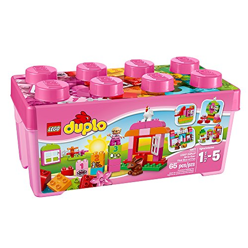 LEGO DUPLO Creative Play All-in-One-Pink-Box-of-Fun 10571, Preschool, Pre-Kindergarten Large Building Block Toys for Toddlers