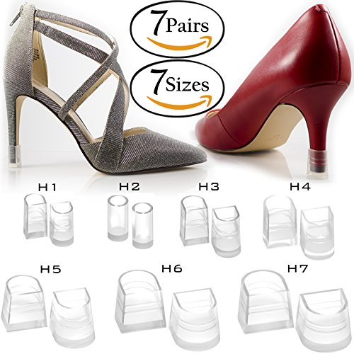 Replacement Boot Buckles - 7 Sizes 7 Pair Set Clear-Glass High Heel Protectors & Heel Repair Replacement Anti-Slip & For Grass Caps [Assortment Pack, Fits Most Shoes & Stiletto Tips] - 7 Hunks Set