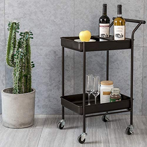 HOMURY Metal Rolling Bar and Serving Cart,2-Tier Kitchen Utility Cart on Wheels with Storage,Coffee Brown