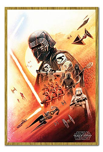 Star Wars The Rise of Skywalker Kylo Ren Poster Cork Pin Memo Board Oak Framed - 96.5 x 66 cms (Approx 38 x 26 inches)
